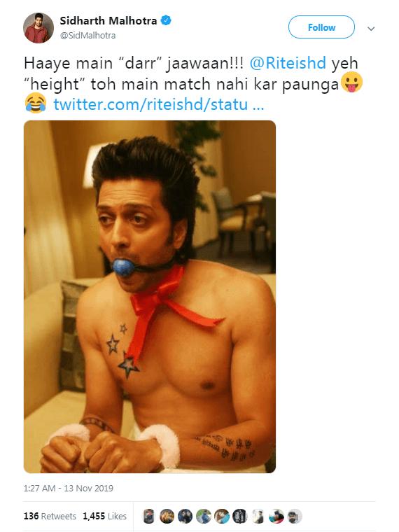 Sidharth Malhotra shared Ritesh Deshmukh's picture