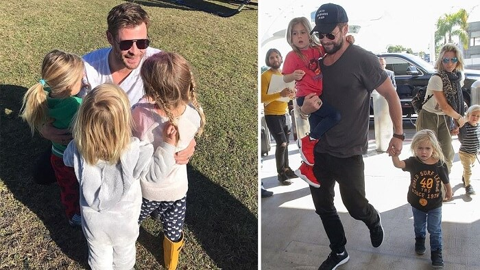 Chris Hemsworth with family