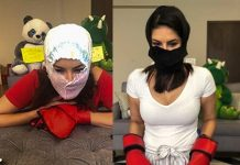Sunny Leone Turns Diaper into a Face Mask in a New Video