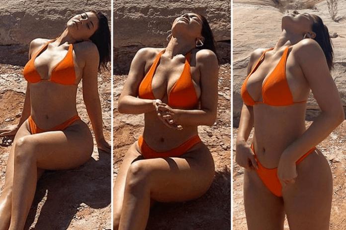 Kylie Jenner Enjoys Sun in Orange Bikini